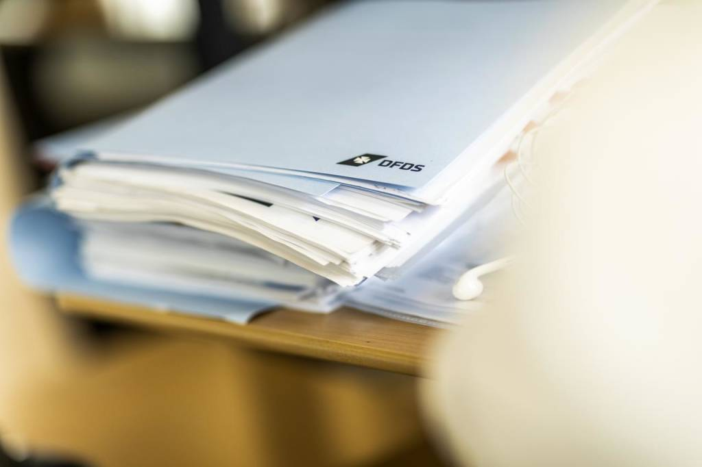 Stack of DFDS paperwork