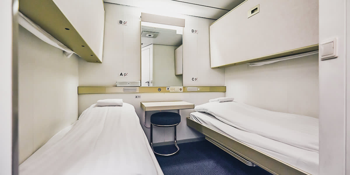 Economy cabin onboard DFDS ferry
