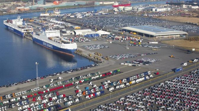 Aerial view of the DFDS Mercatordok terminal in Ghent