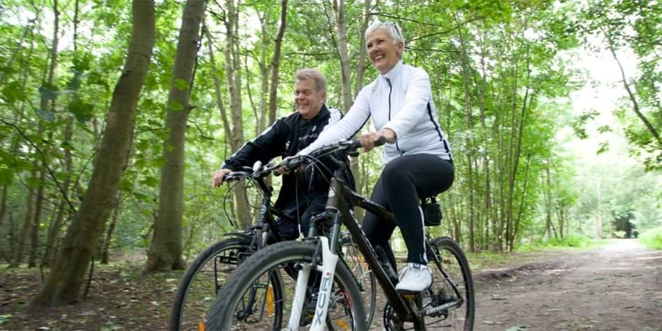 Cycling in Belgium forest
