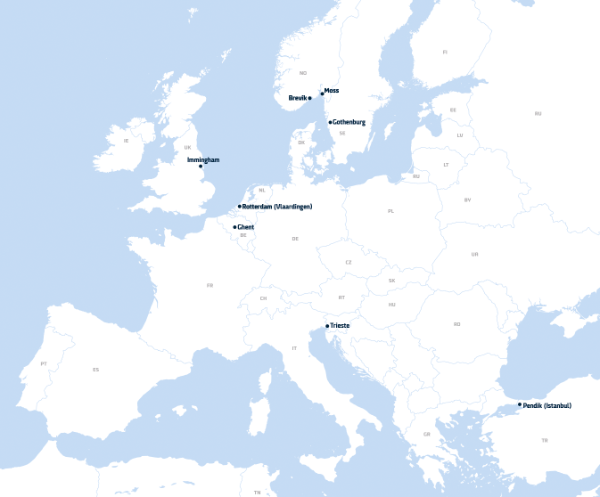 Map of all DFDS-owned terminals in Europe