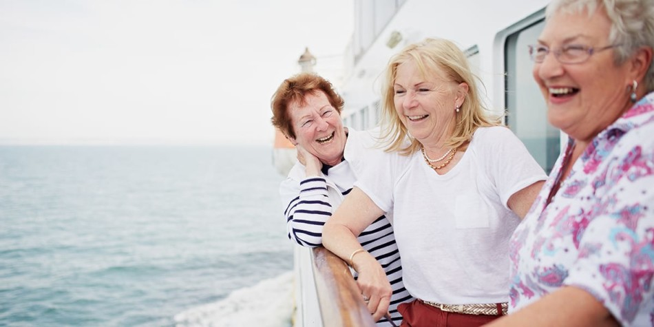 Three women on deck, onboard the DFDS Newhaven- Dieppe ferry