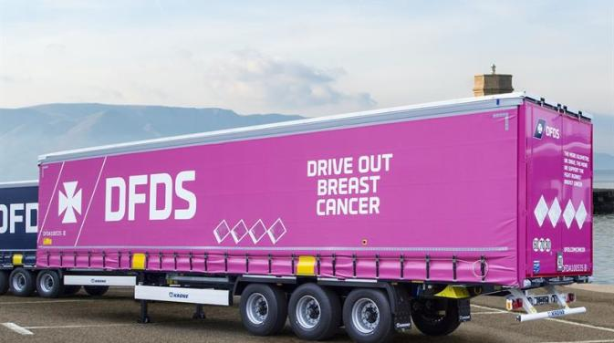 DFDS pink trailer supporting the fight against Breast cancer