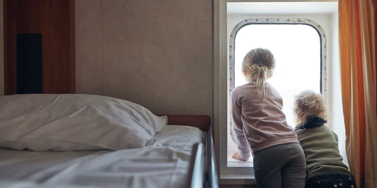 Children in a sea view cabin