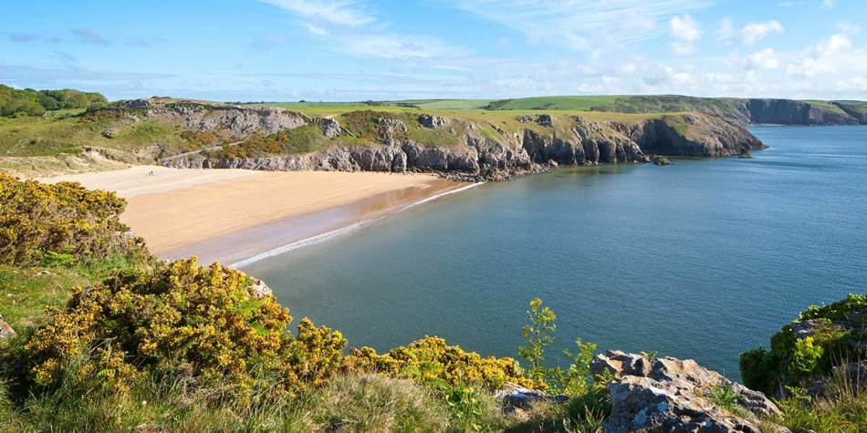 A sandy beach on the Welsh coastline