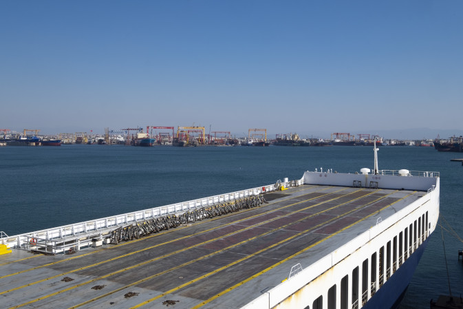 View of a DFDS ship docked at the terminal