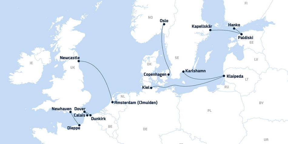 Map showing all DFDS routes