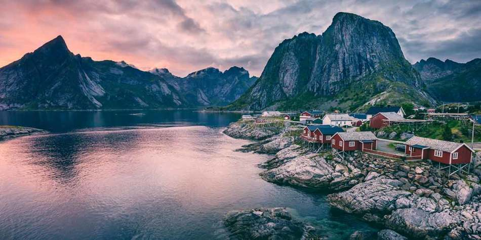 Stunning view of Norwegian mountain village