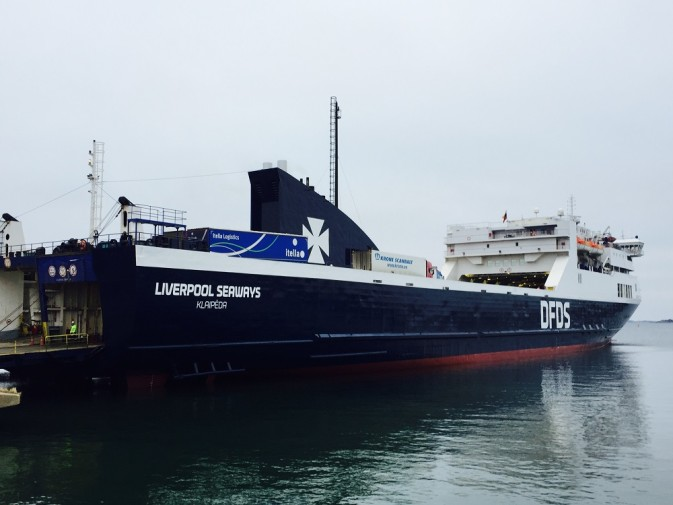 DFDS Vessel Liverpool Seaways tied up at the dock