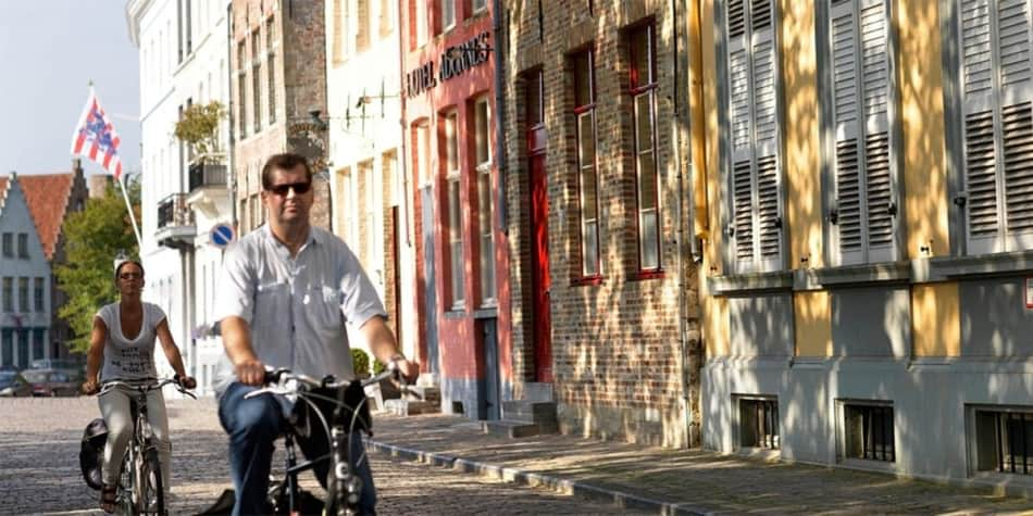 Cycling in Belgium town