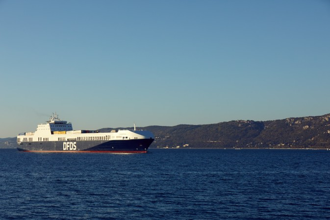 DFDS vessel sailing in the Mediterranean