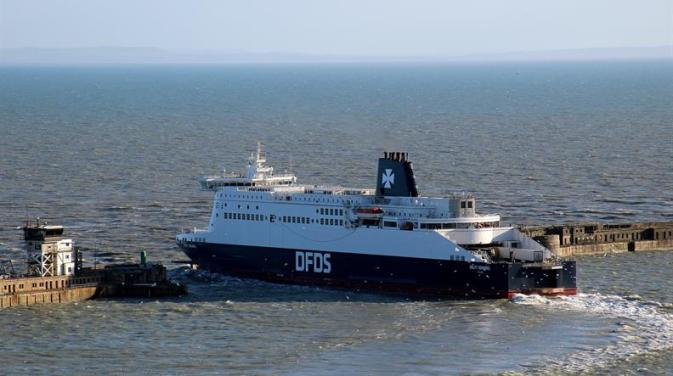 DFDS vessel Delft Seaways sailing out of the port of Dover