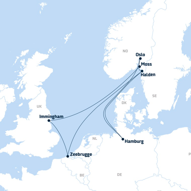 Map of DFDS Shipping Container routes from Continental Europe to Norway and the UK