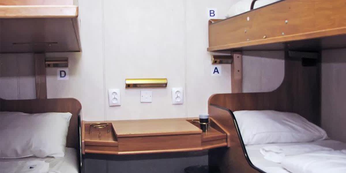 Inside cabin onboard DFDS ferry
