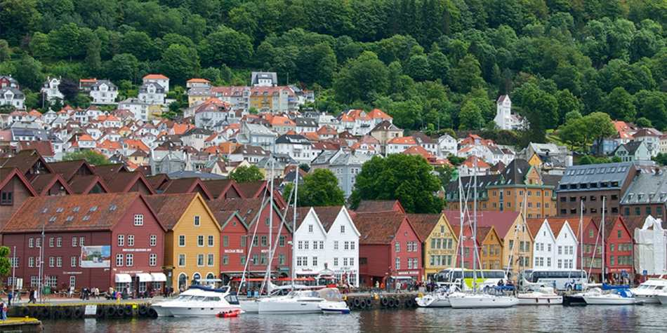 A residential, coastal town in Norway