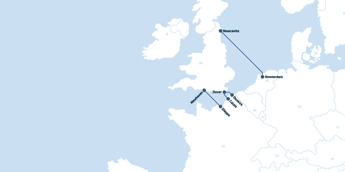 DFDS Map of UK Routes