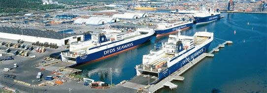 DFDS Logistics Aerial view of a DFDS dock with ships
