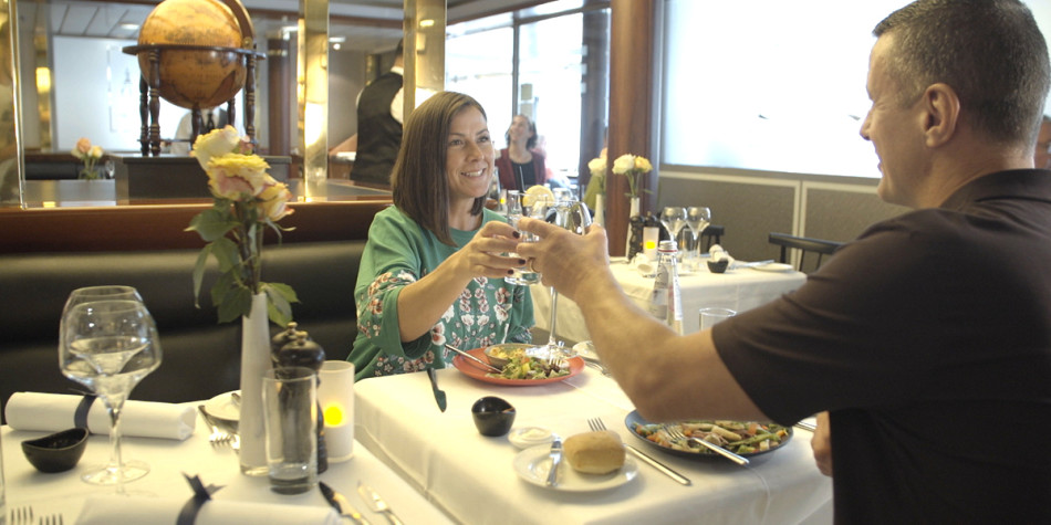 Couple dining in North Sea Bistrot onboard