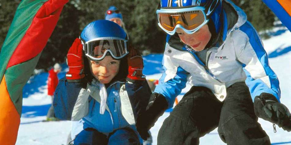 Children skiing in Hemsedal, Norway