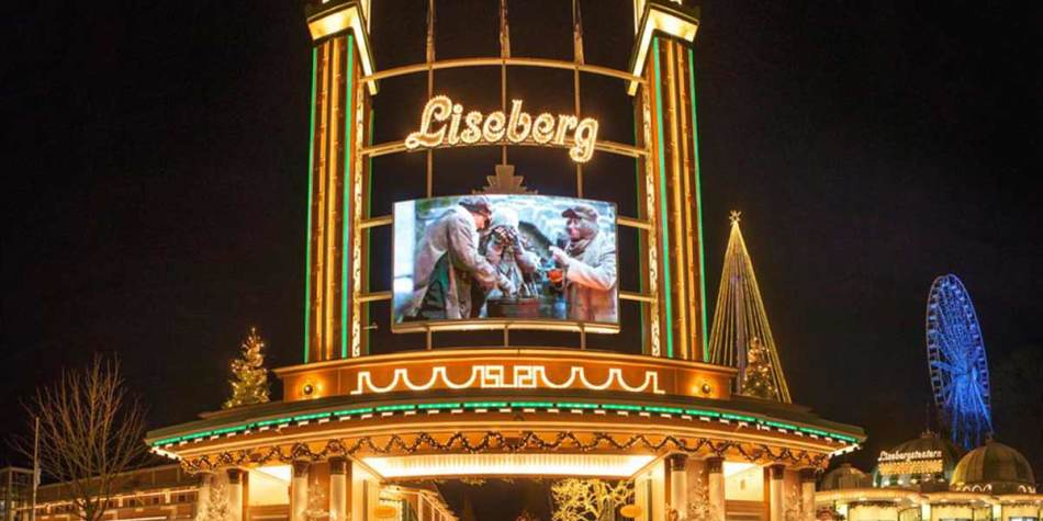 Screen at Liseberg Park, Gothenburg at Christmas