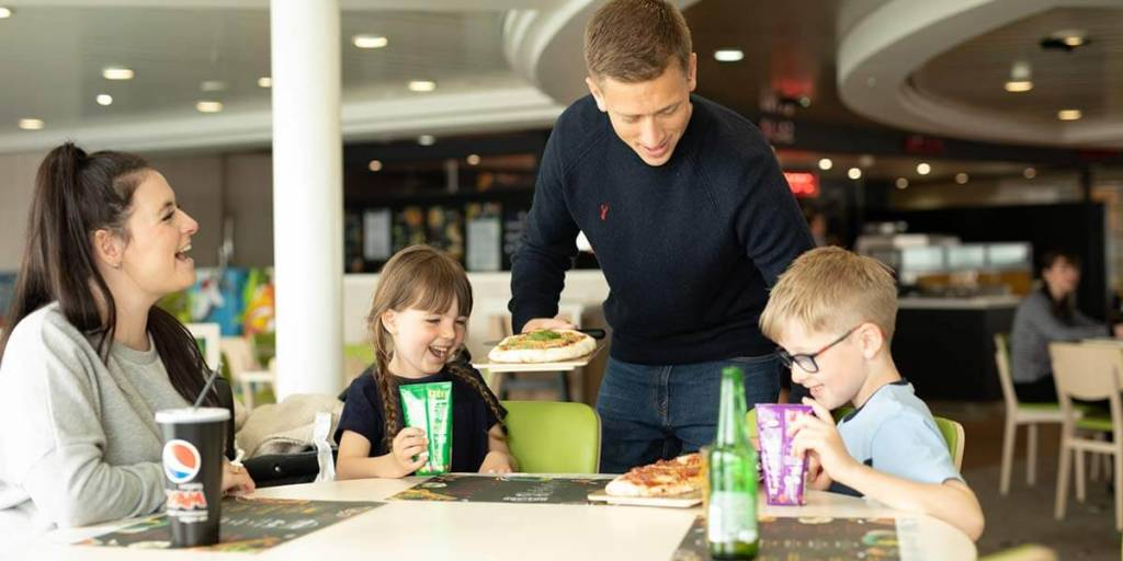 Family meal in Horizon Restaurant onboard Dover-France