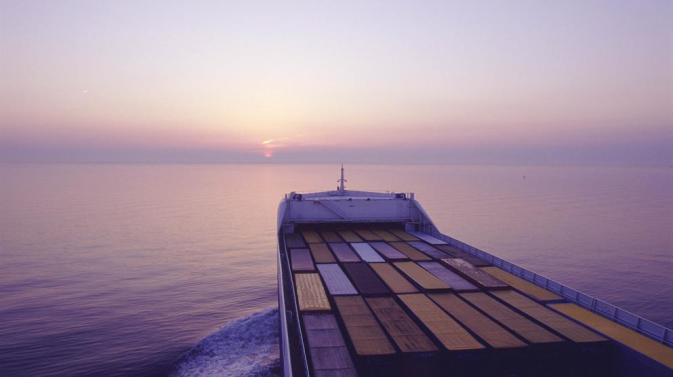 View from the bridge of a DFDS ship sailing into the sunset