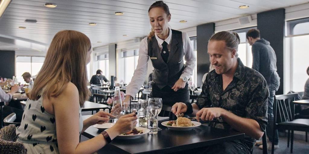 Restaurant onboard Copenhagen-Oslo