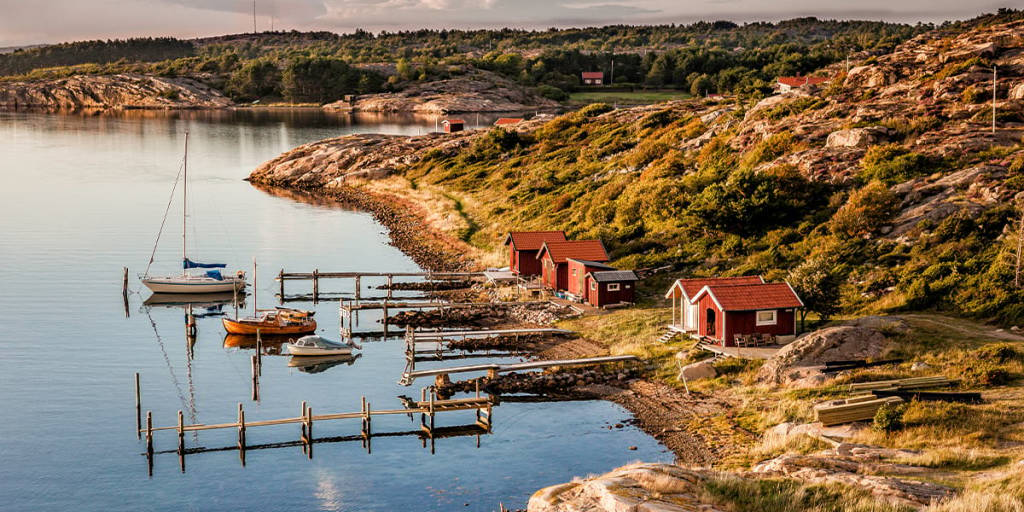 Harbour on the west coast of Sweden in autumn