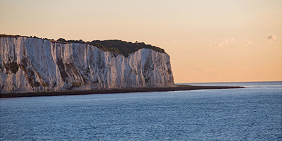 Coastal view of Dover at  sunset in England
