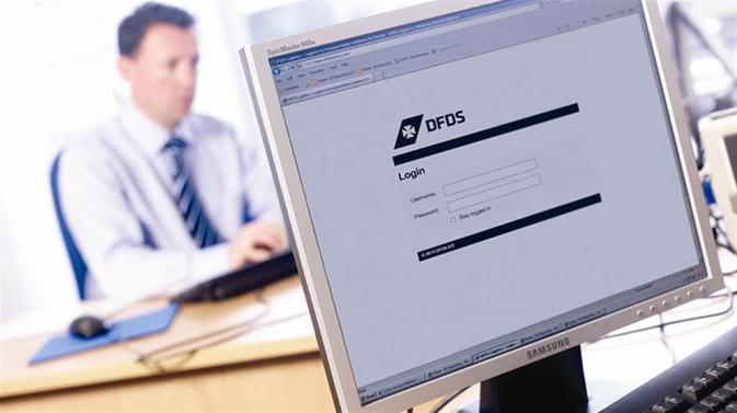 DFDS login displayed on a computer screen
