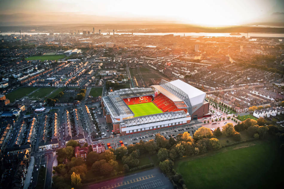 Liverpool Anfield Stadium from above
