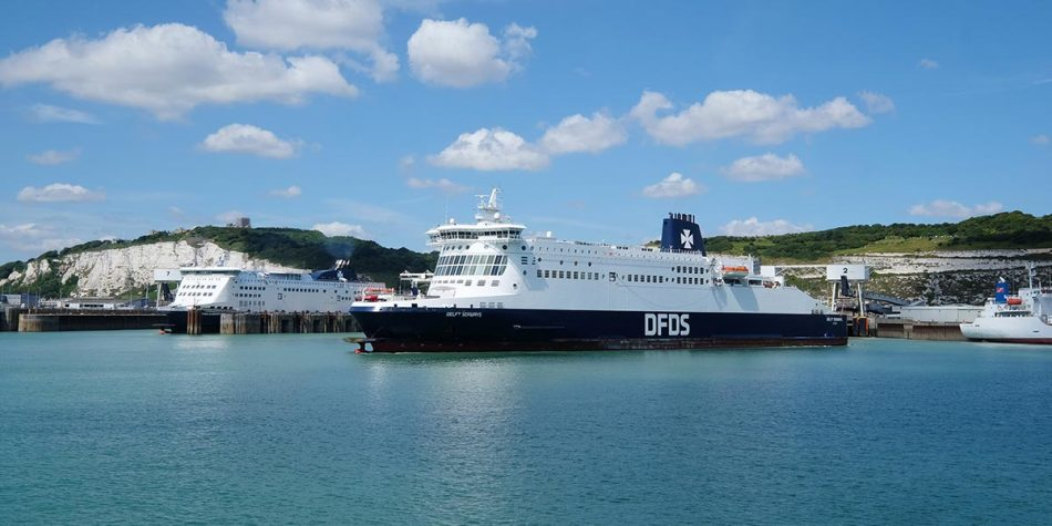 A DFDS ferry at sea