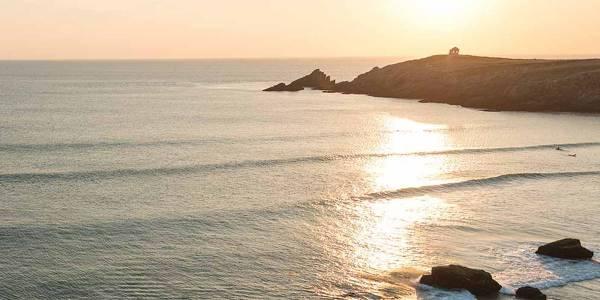 Brittany coastline, sea in the evening