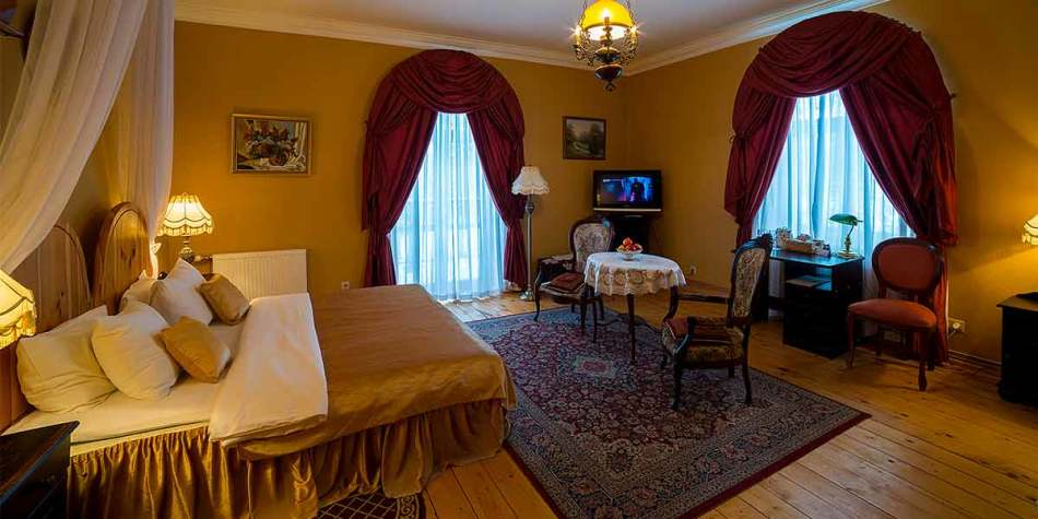 A luxury hotel room at Marcienas Muiza in Latvia