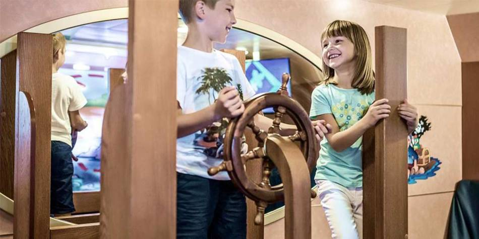 Children enjoying the entertainment onboard Athena Seaways DFDS ferry