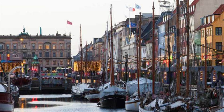 Festive harbour in Copenhagen during Christmas