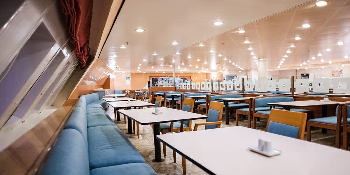 Self-service restaurant on Athena ferry