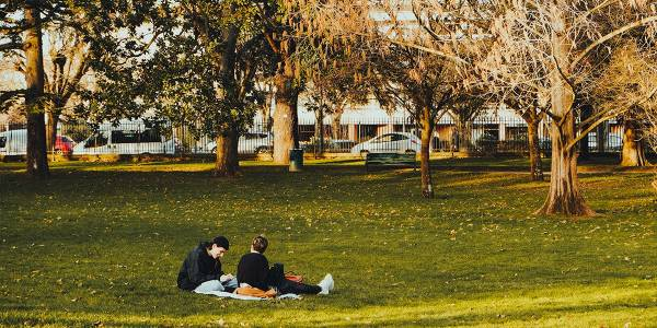People relaxing in a park