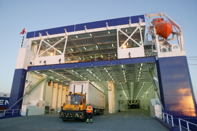 Entrance to the car deck of DFDS vessel