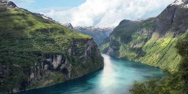 Blick auf Geirangerfjord in Norwegen