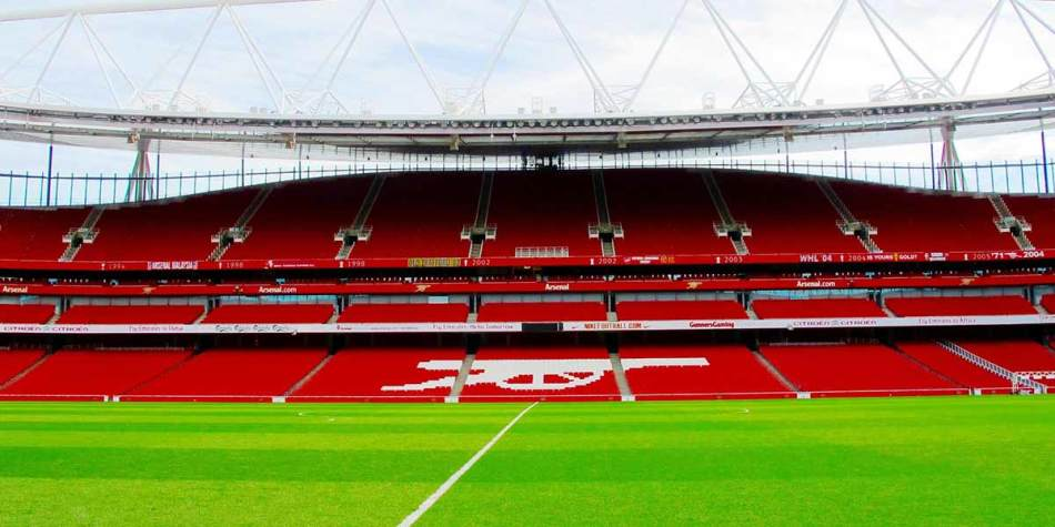 Emirates Stadium with nobody inside