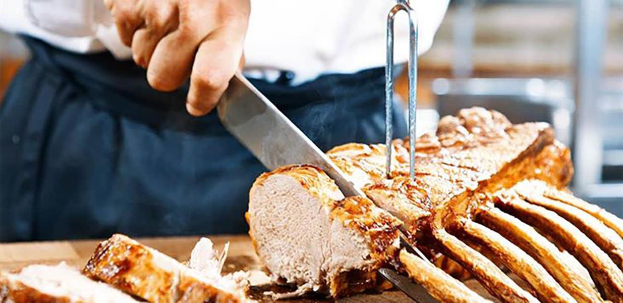 Christmas buffet roast lamb