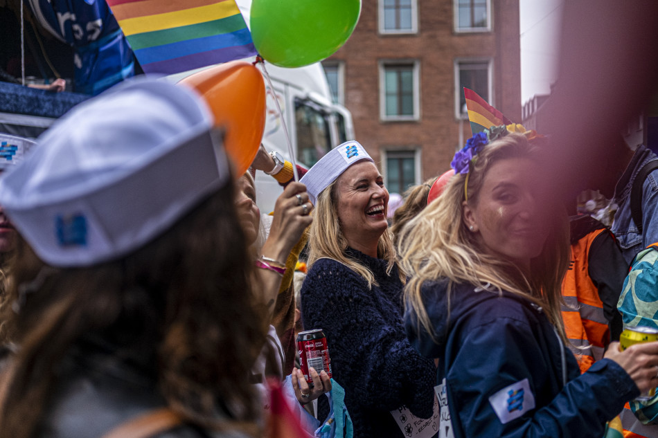 DFDS employees parading down the streets of Copenhagen as part of the Pride Parade