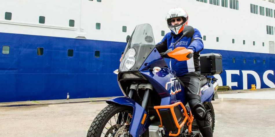 Motorcycle in front of DFDS ferry
