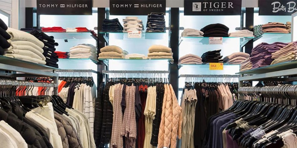 Designer clothing such as Tommy Hilfiger available to purchase onboard the ferry.