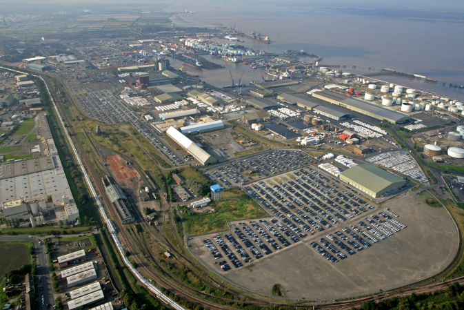 Aerial view of the DFDS port at Immingham