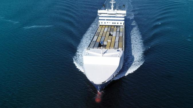 Aerial view of a seaborne DFDS vessel's top deck