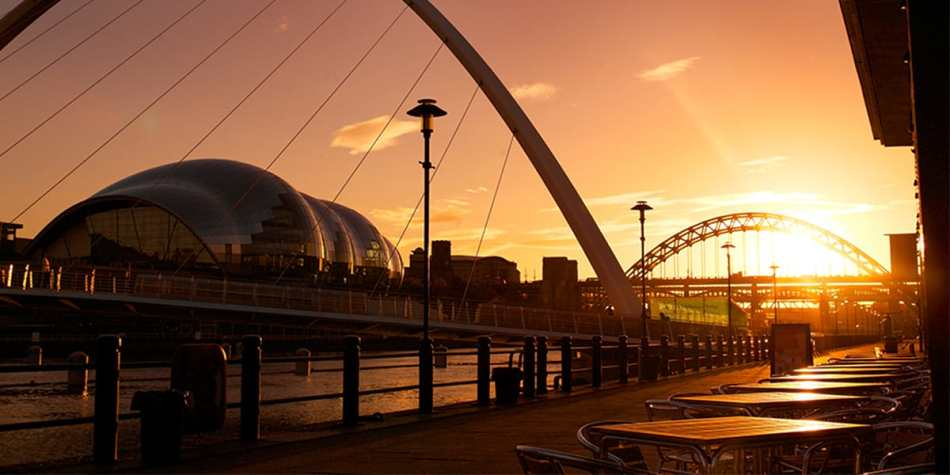 Newcastle upon Tyne bridges at sunset