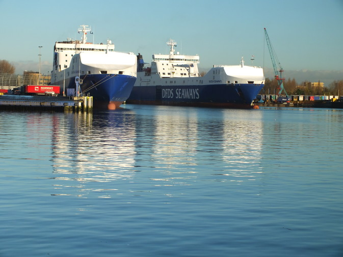 DFDS Vlaardingen Terminal with ships at the dock