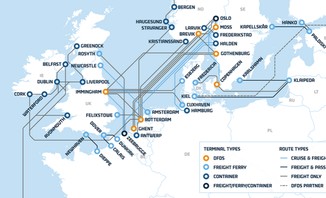 Stylised map of DFDS routes